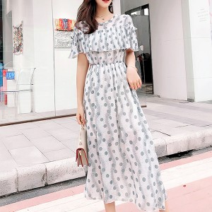 Polka Prints Flared Shoulder Midi Dress - Green