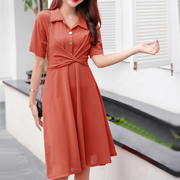 Collar Neck Office Wear Solid Color Mini Dress - Red