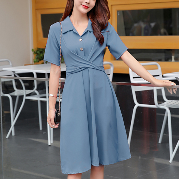 Collar Neck Office Wear Solid Color Mini Dress - Blue