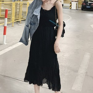 Wrinkled Sleeveless Summer Wear Maxi Dress - Black