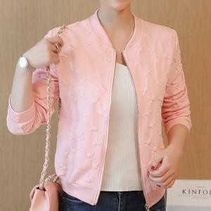 Embossed Art Zipper Outwear Fashion Jacket - Pink