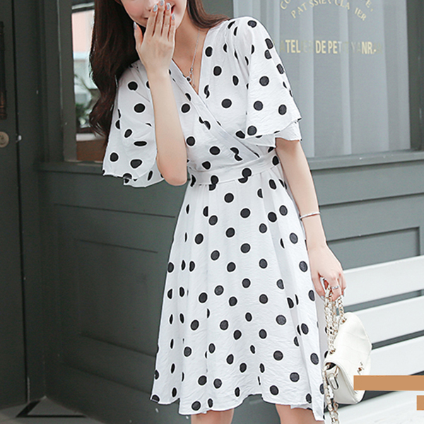 Polka Prints V Neck Mini Dress - White