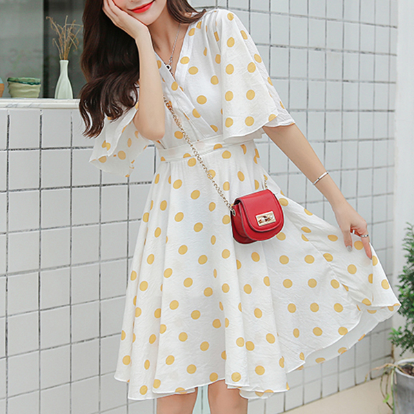 Polka Prints V Neck Mini Dress - Yellow