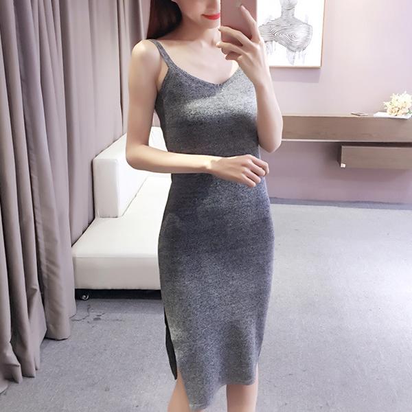 Strap Shoulder Bodycon Midi Length Dress - Grey