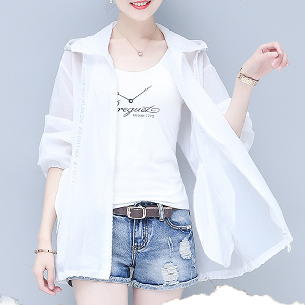 Hoodie Summer Sun Protective Thin Outwear Jacket - White