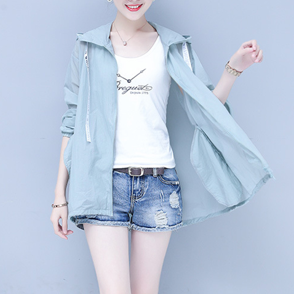 Hoodie Summer Sun Protective Thin Outwear Jacket - Blue