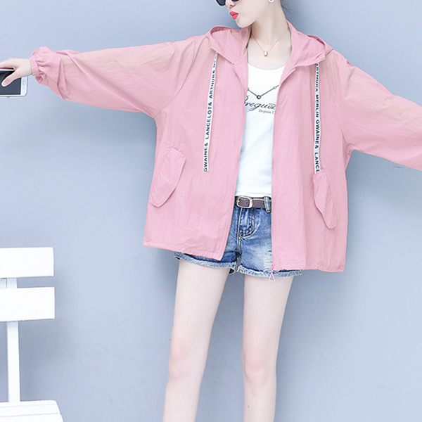 Hoodie Summer Sun Protective Thin Outwear Jacket - Pink