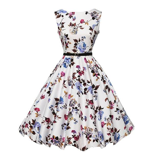 Hepburn Style Waist Swing Petticoat Party Wear Floral Dress