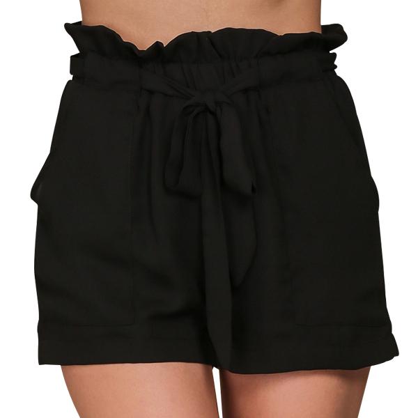 Summer Stylish High Waist Casual Pocket Shorts Black
