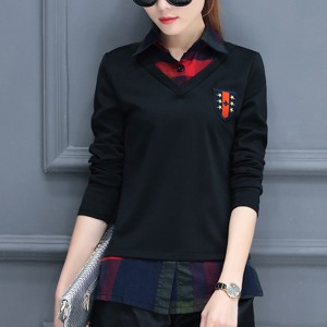 Check Prints Fake Two Piece Casual Shirt - Black