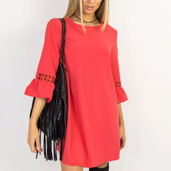 Flared Sleeves Spring Lace Mini Dress - Red