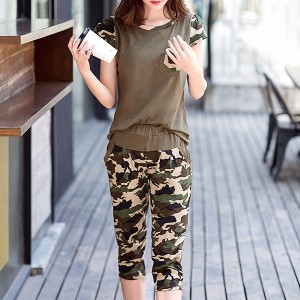 Camouflage Prints Trouser With Casual T-Shirt Suit - Green