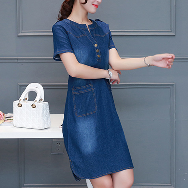 Denim Faded Button Up Mini Dress - Dark Blue