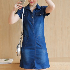 Shirt Collar Pocket Front Mini Denim Dress