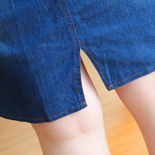 Shirt Collar Denim Short Sleeved Mini Dress