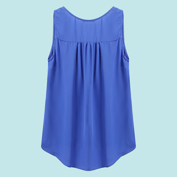 Deep Lace V Neck Top - Blue