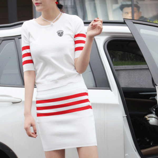 Striped Two Pieces Casual Wear T-Shirt With Skirt - Red