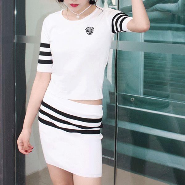 Striped Two Pieces Casual Wear T-Shirt With Skirt - White