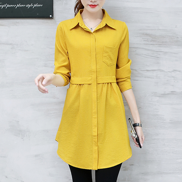Vertical Solid Shirt Collar Pleated Shirt Dress - Yellow