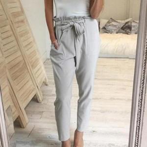 Casual Soft Clothes Loose Chiffon High Waist Trouser - Gray