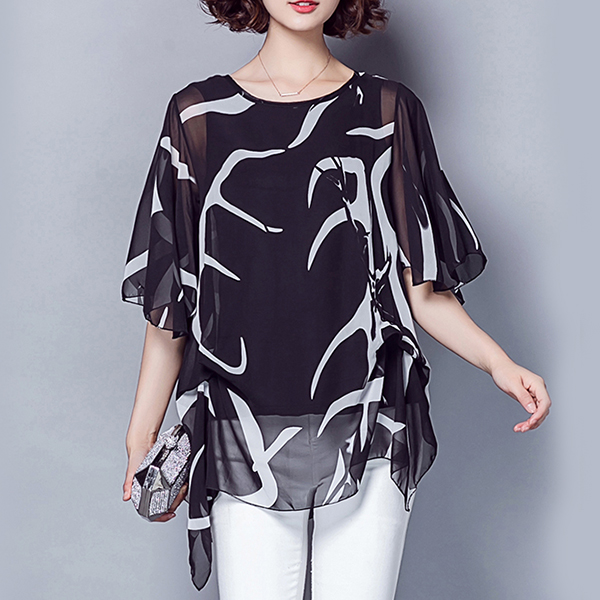 Round Neck Chiffon Two Layered Summer Blouse Top - Black