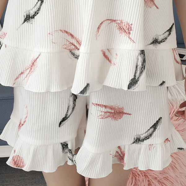 Feather Printed Two Piece Summer Nightwear Suit