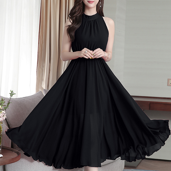 Halter Neck Sleeveless Party Pleated Dress - Black