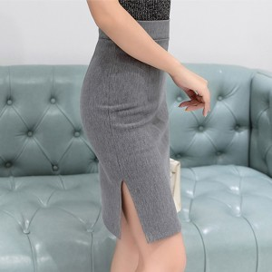Hem Cut Out Plain Formal Wear Skirt - Grey