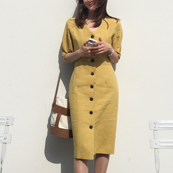 Button Up V Neck Formal Wear Mini Tube Dress - Yellow