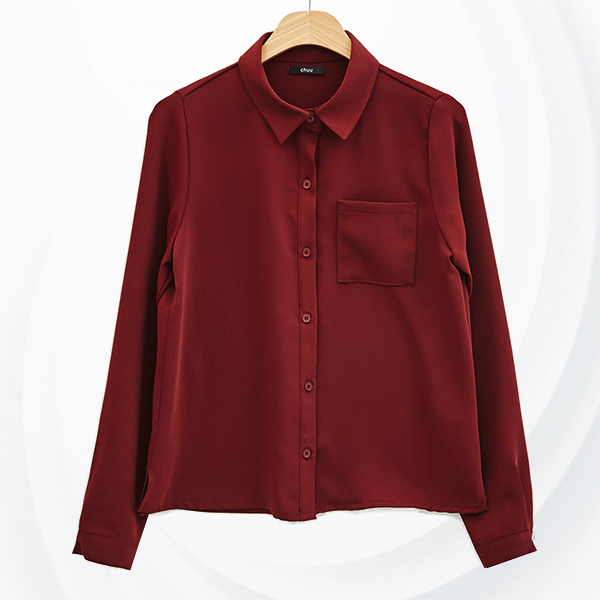 Plain Solid Full Sleeves Casual Shirt - Red