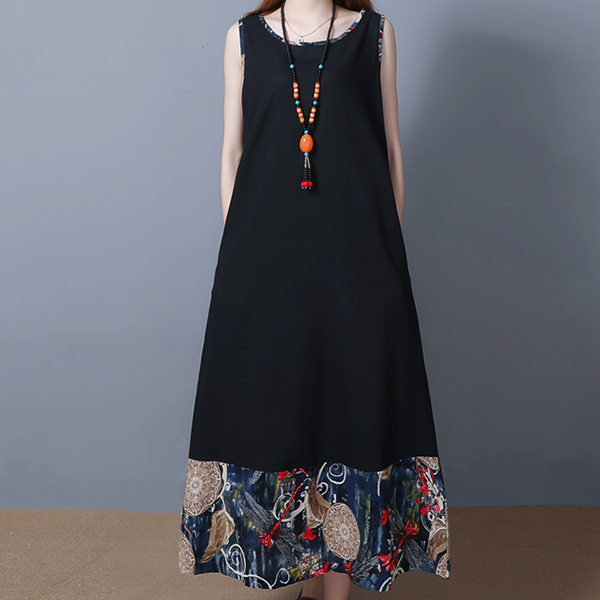 Bohemian Digital Prints Sleeveless Casual Dress - Black
