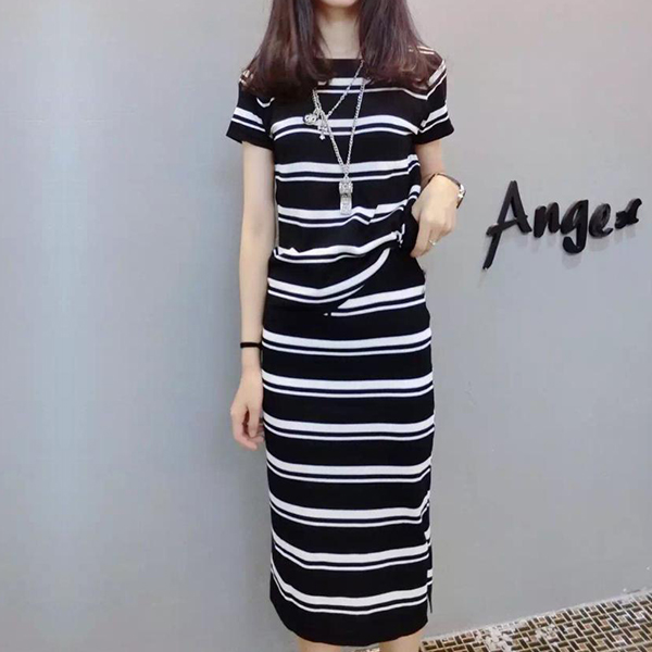 O Neck Striped Top With Skirt Suit - Black