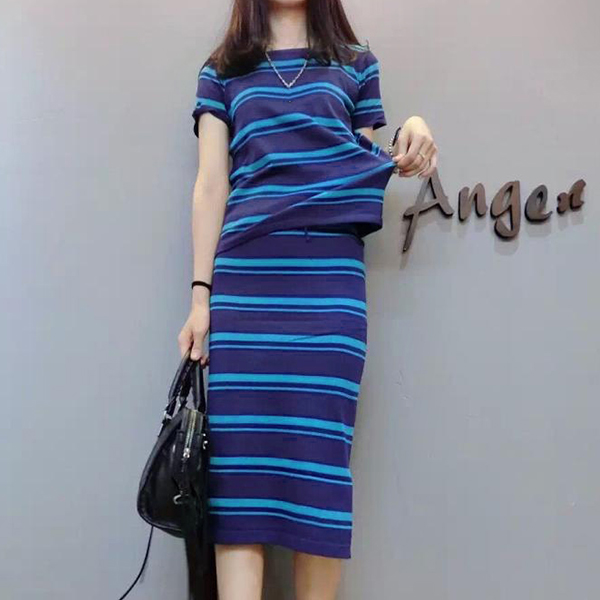 O Neck Striped Top With Skirt Suit - Blue