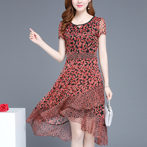 Chiffon Printed Floral Irregular Hem Midi Dress - Red