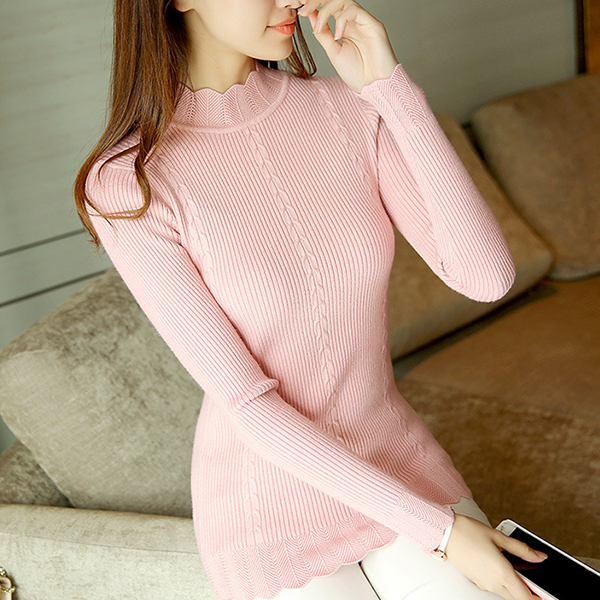 High Collar Wave Neck Ribbed Pink Top