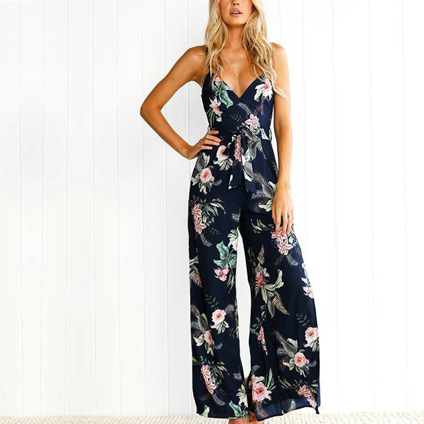 Strap Neck Floral Prints Full Length Romper Dress
