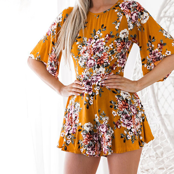 Backless Printed Bat Sleeved Mini Dress - Yellow