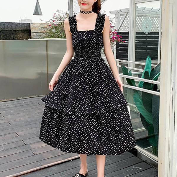 Flared Polka Dots Strap Shoulder Summer Long Dress