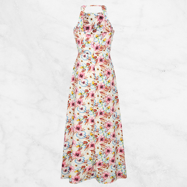 Halter Neck Printed Loose Long Casual Dress - White