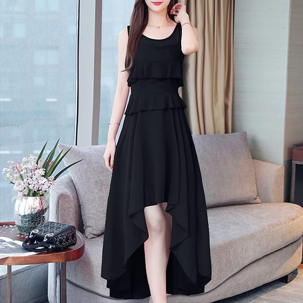 Irregular Chiffon Flared Hem Party Dress - Black