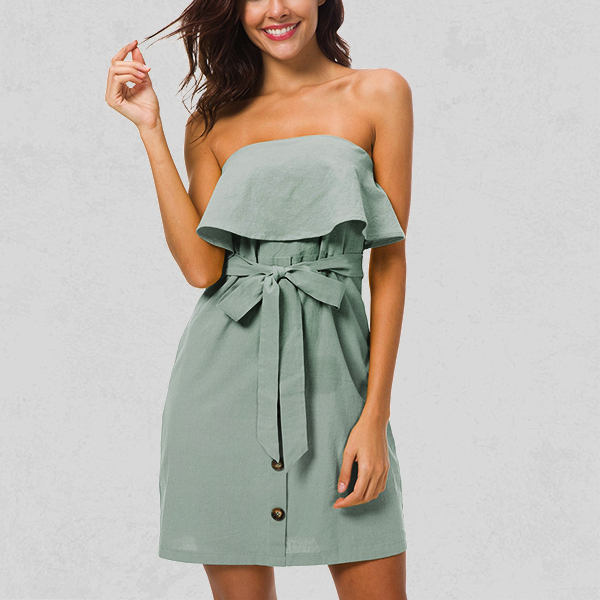 Ruffled Bandeau Knot Style Mini Dress - Light Green