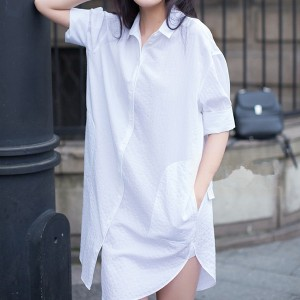 Summer Wear Soft Cotton Loose Shirt Dress - White