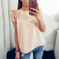 Sleeveless Butterfly Chiffon Women Blouses - Pink