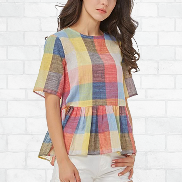 Colorful Checks Printed Frilled Hem Top
