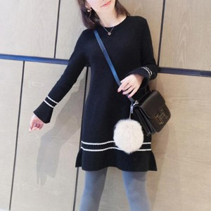 Slim Mini Round Neck Knitted Strips Women Dress - Black