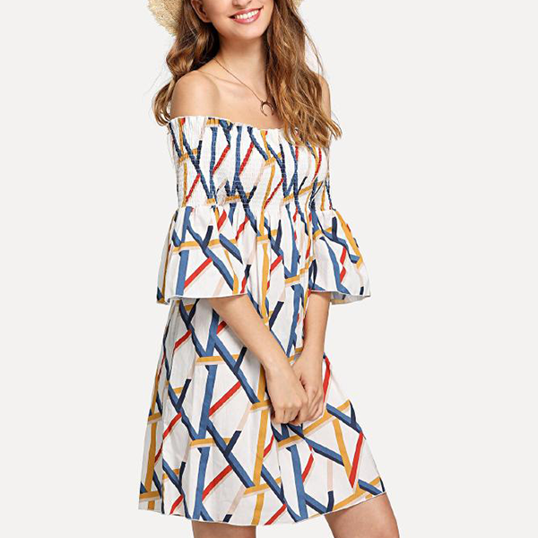 Shirred Chest Speaker Sleeved Dress