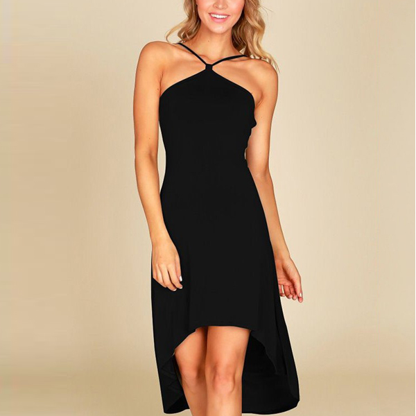 Sleeveless Halter Neck Irregular Party Dress - Black