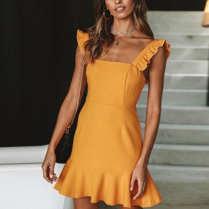 Slash Neck Sleeveless Summer Mini Dress - Yellow