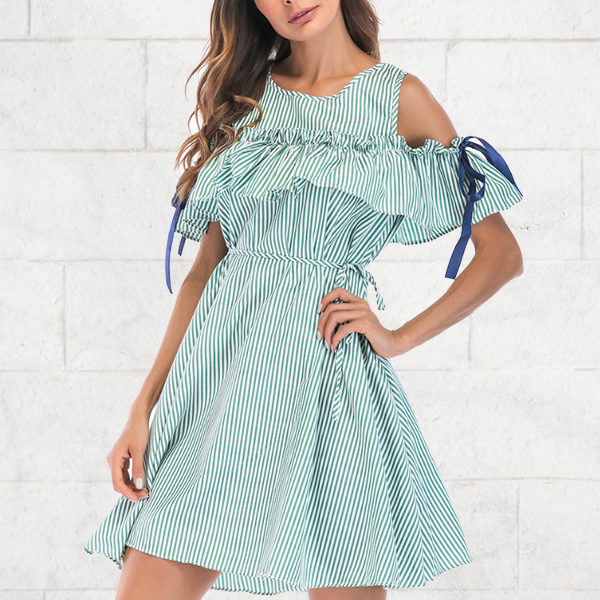 Cold Shoulder Ribbons Decorated Mini Dress - Green