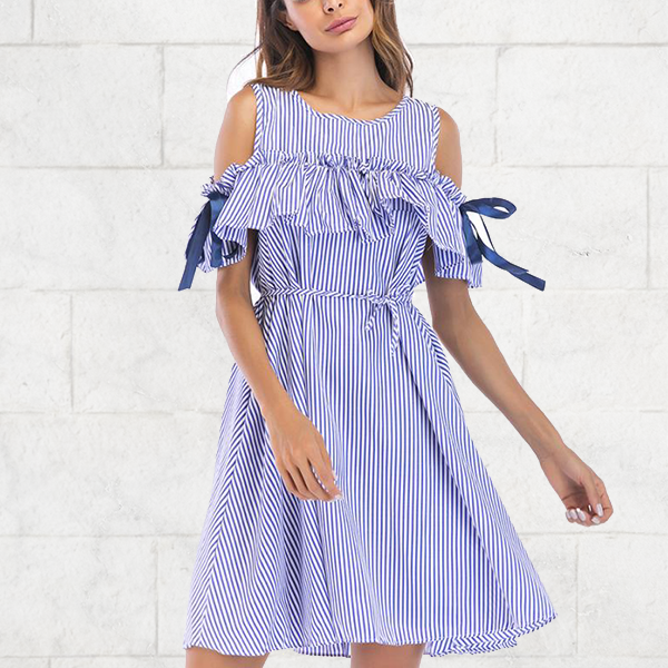 Cold Shoulder Ribbons Decorated Mini Dress - Blue